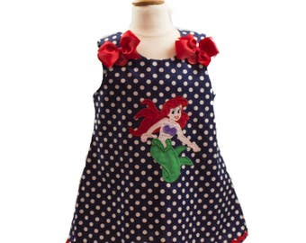 Girl Aline dress girl Ariel dress toddler birthday Aline dress Girl dress toddler dress girl dress girl Little Mermaid aline dress