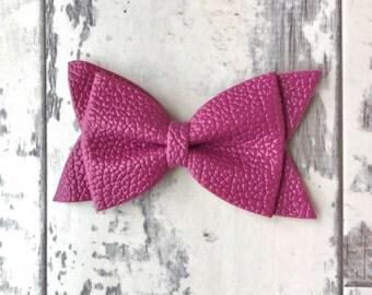 Violet Daphne faux leather bow