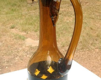 "Rare 1960's Felipe Filipe DERFLINGHER Mexican Modernist Brutalist Amber Caged Imprisoned 19"" Glass Decanter"
