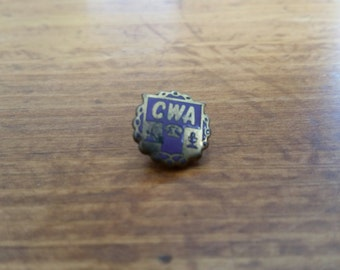 Vintage Communications Workers of America CWA Screwback Pin Free Shipping