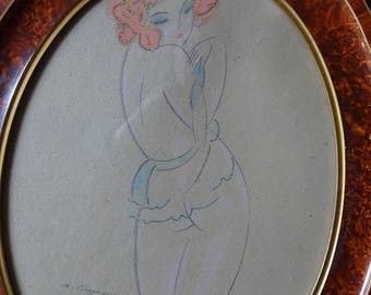 Framed and signed Art Deco pencil drawing. 'Lady in a slip'. G Cazenove. 1927