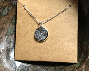 Shimmering Charcoal Solitaire Winter Druzy Pendant