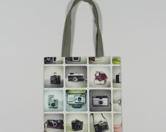 Vintage cameras book bag - Shopping bag - Tote bag - Lined fabric bag - Library bag - Book tote - Camera print bag - Sturdy fabric tote