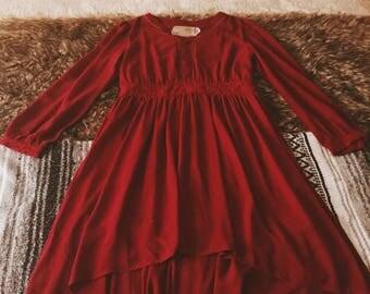Red Chiffon Hi/Low Dress