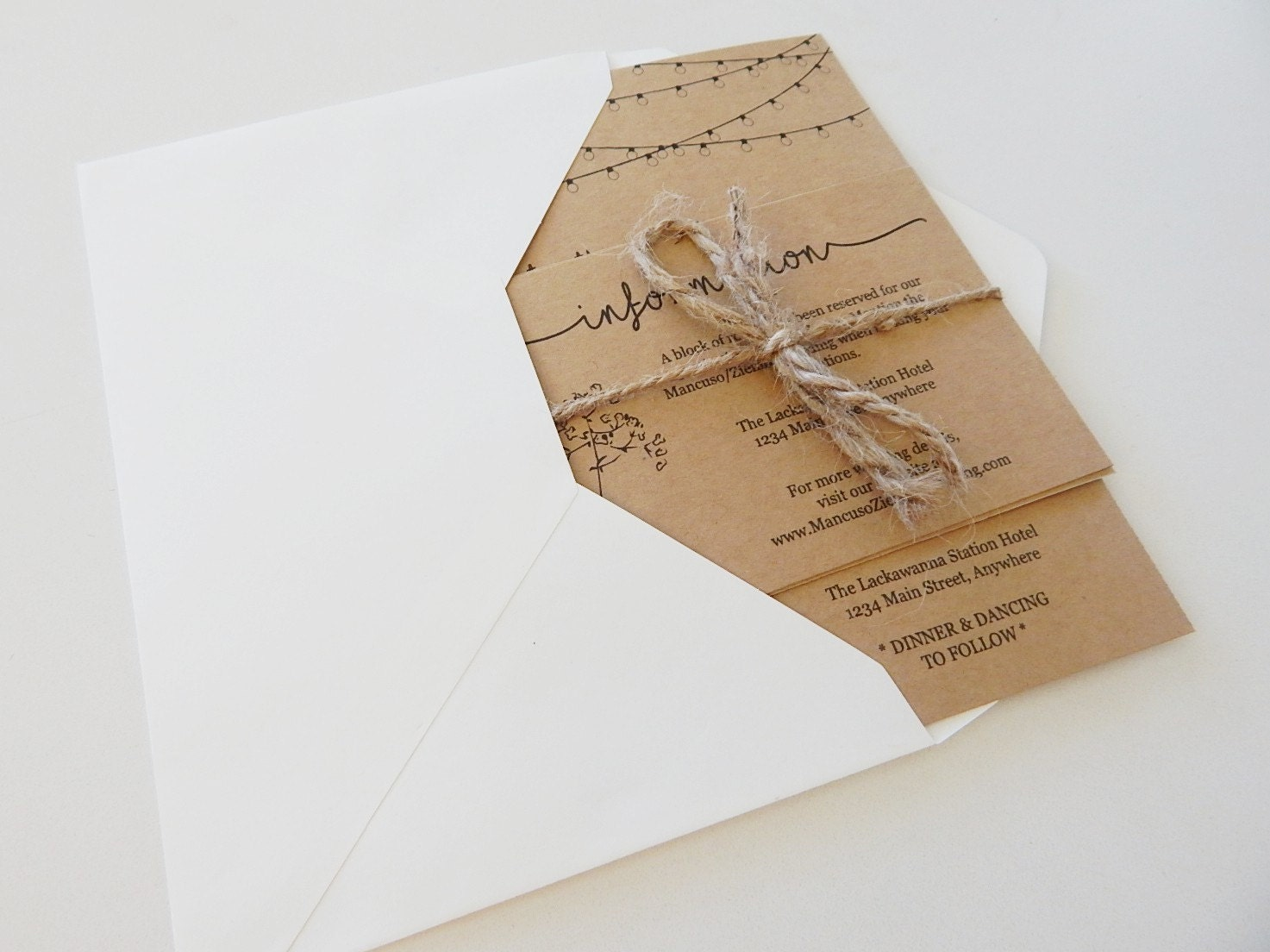 Wedding invitation set in envelope