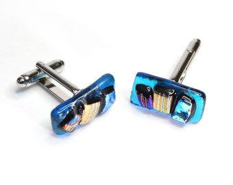 abstract cufflinks glass cufflink fused glass cufflink dichroic cufflink abstract glass cufflink coloured glass gift for him gift for dad