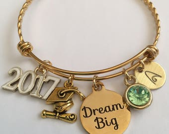 Graduation bracelet-personalized-graduation gold plated stainless steel charm bangle
