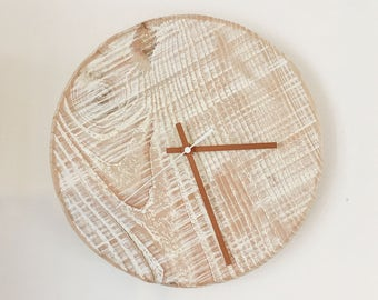 Whitewash and copper wall clock