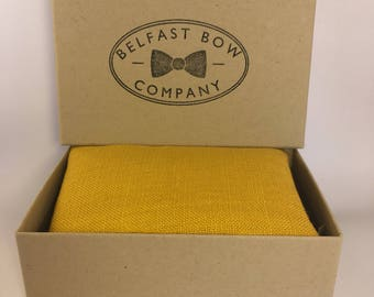 Handmade Pocket Square in Irish Linen Mustard Yellow