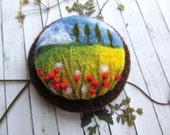 Needle felted brooch  Rustic style Tree jewelry Poppies felt brooch Landscape Jewelry gift for mom Natural jewelry Boho jewelry Gift for mom
