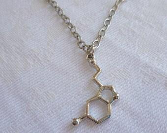 Serotonin necklace,charm necklace,serotonin jewelry,silver necklace,chemistry,biology,geek,simple jewelry,minimalist,science,gift,handmade
