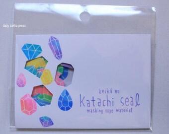 Gem Sticker Flakes | Tracing Paper Sticker Flakes | Neon Katachi Seal - 10 designs - 40 pieces - 1910