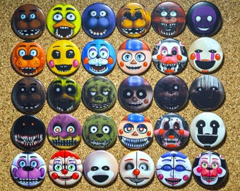 Five Nights at Freddy's MIX & MATCH Button Set - FNAF Birthday Party Supplies/Favor Feat: Circus Baby, Foxy, Springtrap, Bonnie Pins, etc!