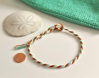 Festival Friendship Bracelets (Set of Two) Tiny Tassel Bracelet, Boho Hippie Bracelet, Minimal Yarn Bracelet, Party Favor, Small Gift Summer
