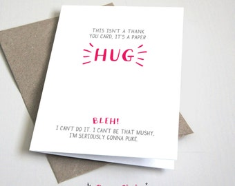 This isn't a thank you card it's a paper hug CARD / Funny / Pink and Grey / 5x7 Folded Card – Printable DIY, Instant Download