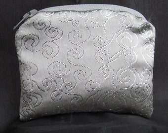 Small Silver Swirl and Purple Brocade and Satin Coinpurse Coin Purse Pendulum Crystals Zipper Bag Pouch Fancy