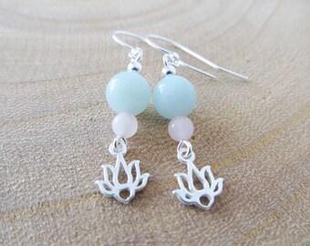 Lotus earrings, amazonite earrings, yoga earrings, sterling silver earrings