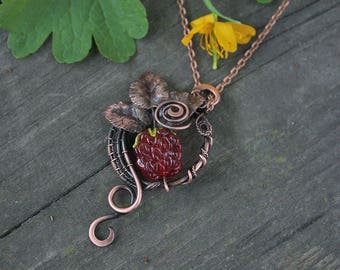 Raspberry Copper Pendant - Red Berry - Berry Pendant - Red Pendant - Handmade Copper Pendant with Lampwork Beads - Red Berries Pendant