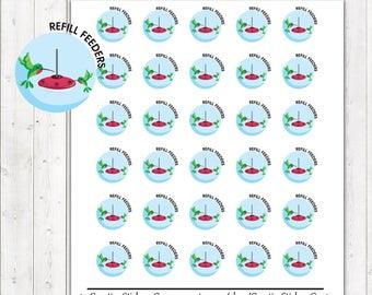 40% OFF SALE Hummingbird Feeder Stickers, Refill Hummingbird Feeder Planner Stickers – Will fit any planner– 1880
