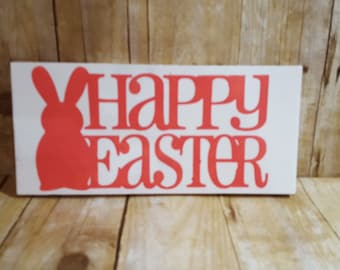Happy Easter sign, easter sign, easter bunny, easter bunny sign, wooden easter sign, spring sign,