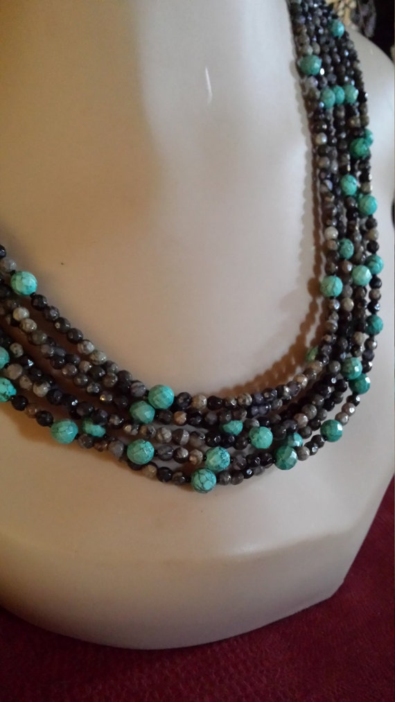 Six strand turquoise and faceted chrysophrase necklace