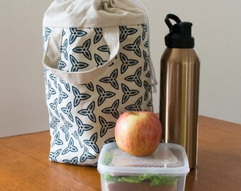 Navy adult lunch bag. Insulated lunch tote or cooler bag. Waterproof food bag. Ideal lunch bag for men or women. Drawstring close & handles.