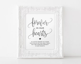 In Loving Memory Sign, Forever in our Hearts Sign, Memory Sign, Memorial Table Sign, In Memory, Wedding Sign, Instant Download #BPB203_54