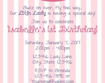 Ladybug Pink Printed invitations