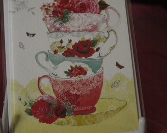 2 Notelets  Cups and Saucers and Flowers