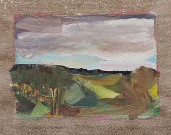 Autumn paint in gouache on linen of 12 x 16.4 cm.