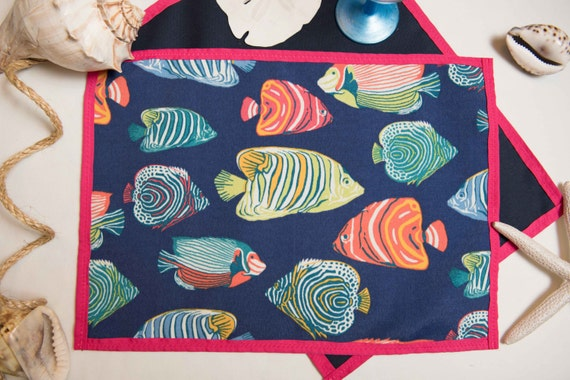 Indoor / Outdoor Handmade Tropical Fish Placemat Set