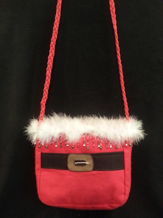 Small Handmade Santa Purse W/Green/Red/Clear/White Bead Mix Trim