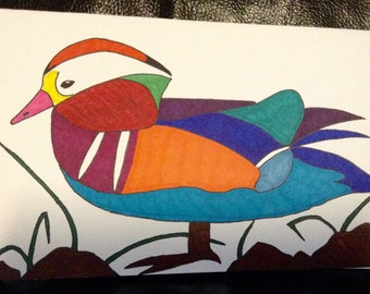 Mandarin Duck Hand-Painted Drawing