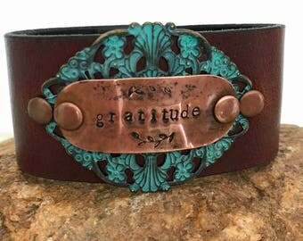 Gratitude hand stamped boho cuff, upcycled belt