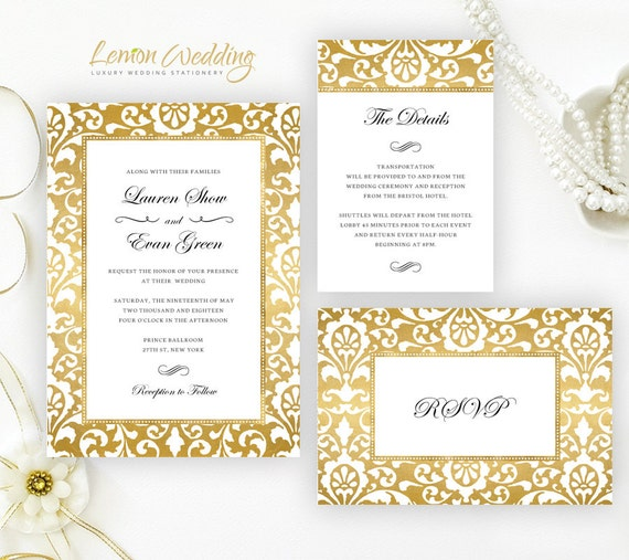 Cheap Cardstock For Wedding Invitations : ... cardstock Damask theme invites Cheap wedding cards + rsvp postcard