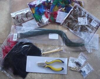 Destash Hair Extension Supplies, Feathers, Crimps, Tools, Hair Destash, Feather Destash, Feather Extension Supplies, Cosmetology