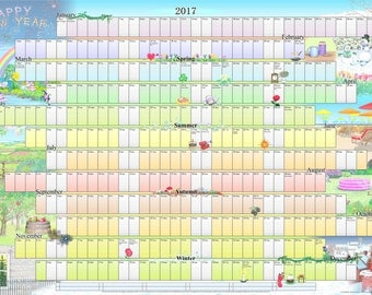 A2 size - 2017 Illustrated Wall Planner / Calendar / Poster