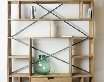 KONK! Compartment Oak Bookcase shelving INDUSTRIAL [Bespoke sizes!] Rustic Vintage Reclaimed