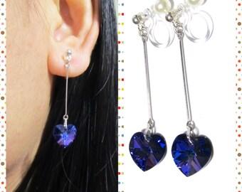 Vitrail Purple Swarovski Rhinestone Clip on earrings |7J| Bridal clip on Non Pierced Earrings Wedding Clip on Earrings Heart Earrings Gift