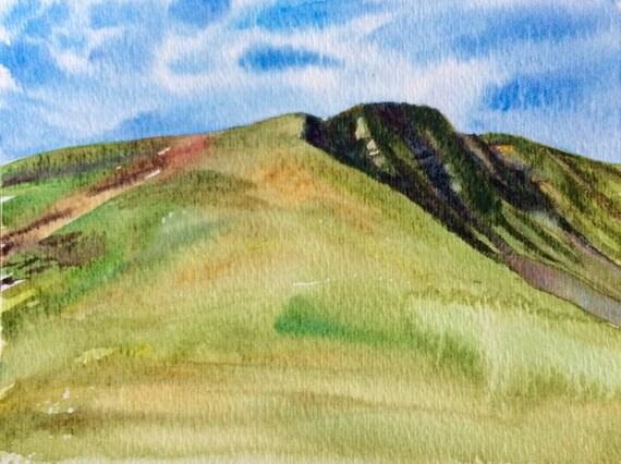 Pen y Fan, Brecon Beacons, Wales, Welsh landscape, landscape watercolor, South Wales, welsh mountain, Britain, UK, landscape painting