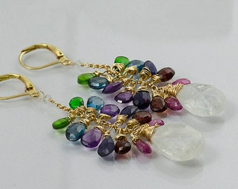 Multicolor Gemstone goldfill earrings Sapphires moonstone London blue topaz amethyst kyanite emerald garnets signature