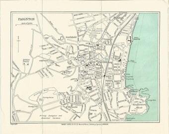 1930 map of paignton england antique map  vintage wall decor.