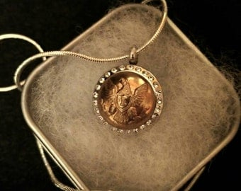 1850 Antique US Army Infantry Officer Small Scovill Button Locket