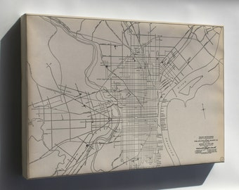 Canvas 24x36; 1911 Philly Streetcar Map 01
