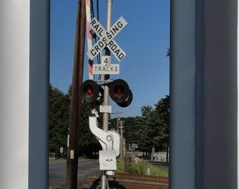Canvas 24x36; Grade Crossing Railroad Train Signal Sign