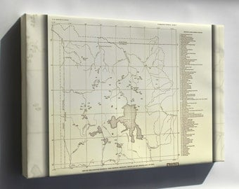 Canvas 16x24; Map Of Yellowstone National Park Hot Springs 1937