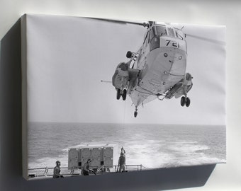 Canvas 16x24; Sh-3G Sea King Helicopter Refuels Uss Bagley (Ff 1069)