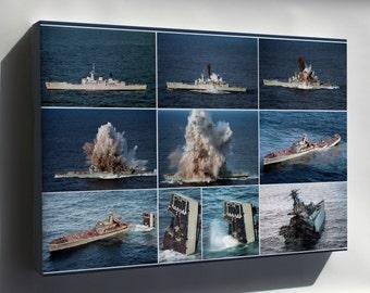 Canvas 16x24; Mark 48 Torpedo Testing Ship Sinking Navy