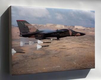 Canvas 16x24; F-111 Aardvark Dropping Mark 82 High-Drag Bombs