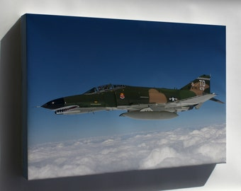 Canvas 16x24; F-4 Phantom Ii Aircraft Over The Atlantic Ocean